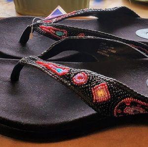 Me Too Beaded Flip Flops/Thongs Black MultiColor